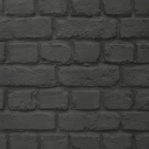 Teen's Wallpaper Stone Wall Brick black Rasch 226744