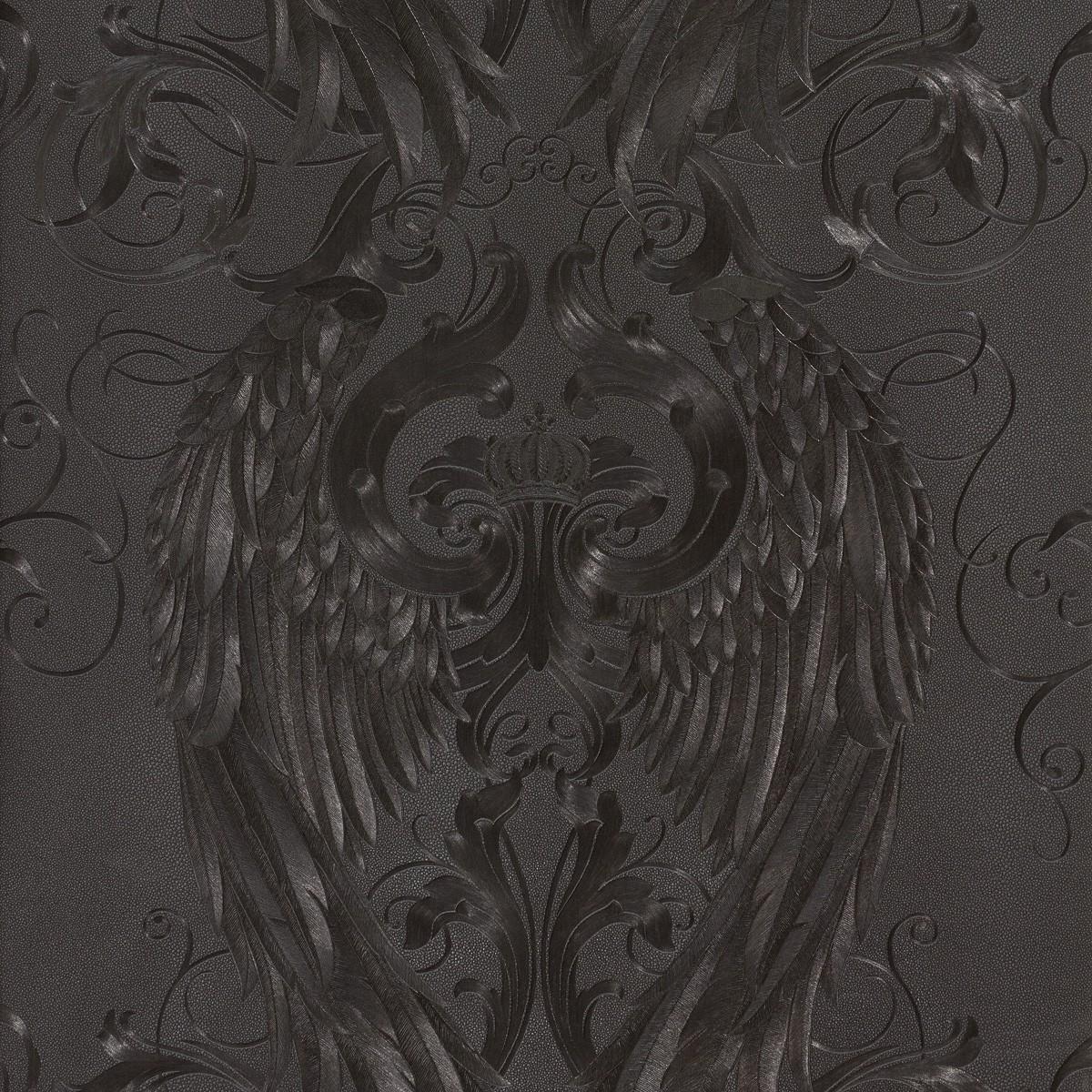wallpaper gl ckler angel wings black metallic 52578