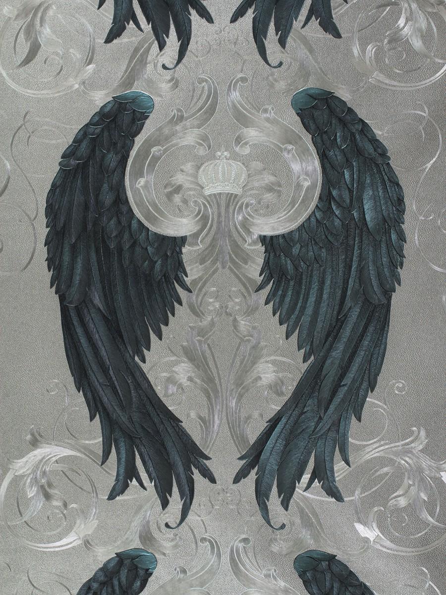 Vliestapete Gloockler Engelsflugel Silber Blau Metallic