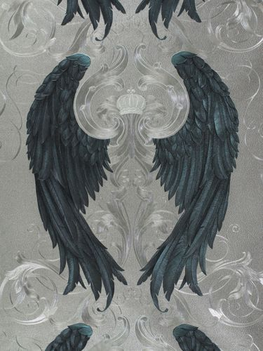 Wallpaper Glööckler angel wings silver Metallic 52579