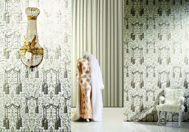 Vliestapete Glööckler Vorhang weiß beige Metallic 52525 online kaufen