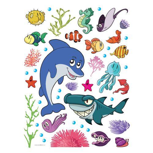 Kinder Wandsticker Wanddeko Delphin Meerestiere Fische