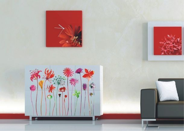 Wall tattoo wall sticker tattoo wall decoration TÜV - floral nostalgia flowers flower red online kaufen