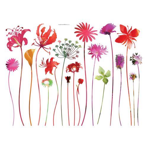 Wandtattoo Wandsticker Wanddeko Tattoo Floral Blume rot