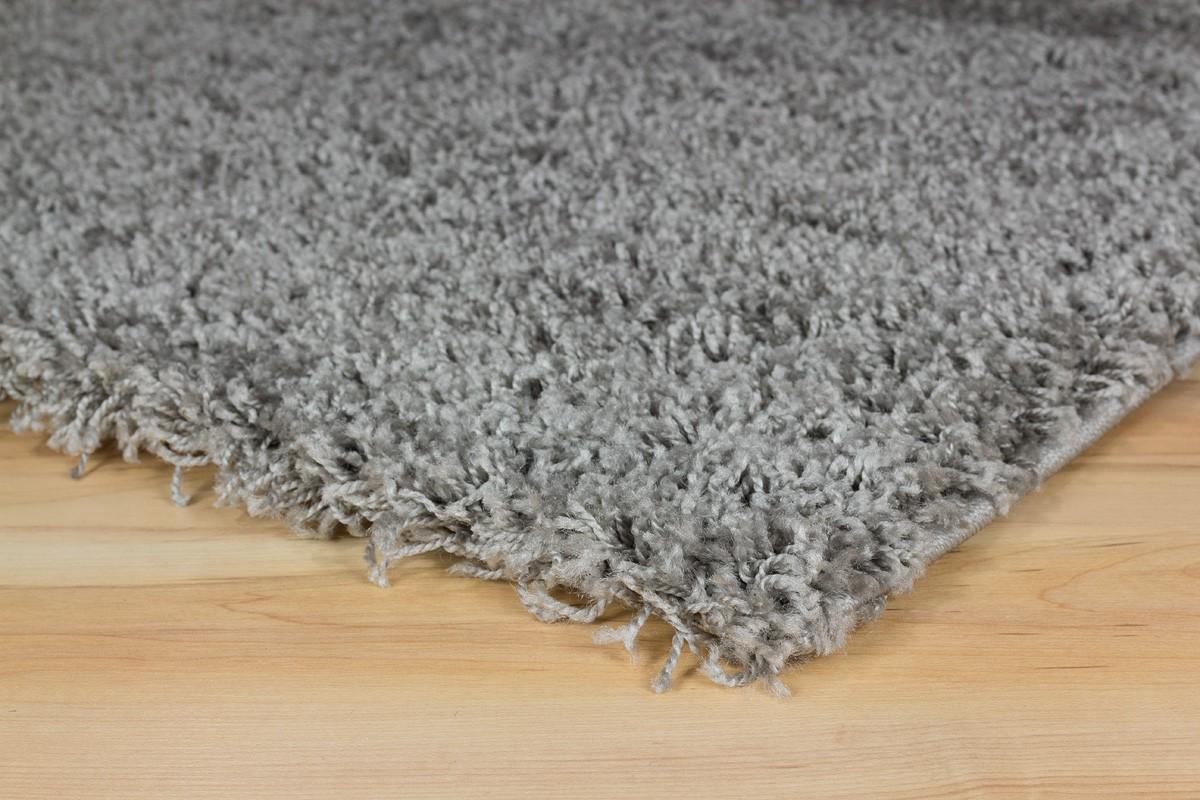 Langflor Teppich Hochflor Teppich Fancy Uni Einfarbig Grau
