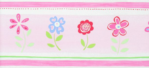 Rasch Textil Border Giggle Children's border 177303 Flowers pink blue