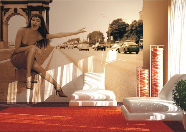 Fototapete Paris Frau Straße Foto 360x270 cm FT0083 online kaufen