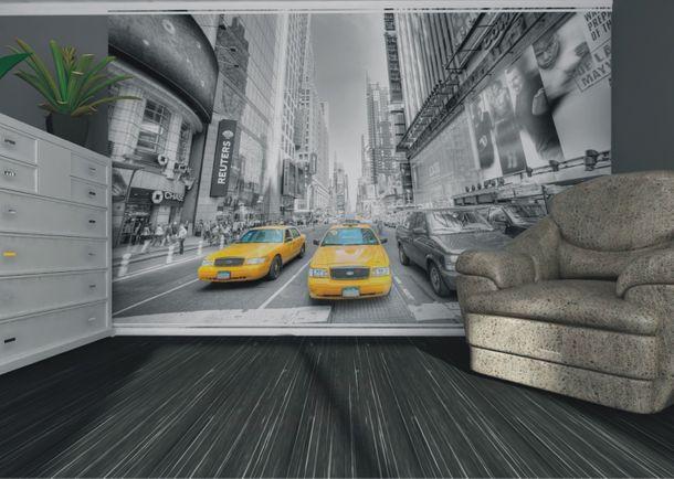 Wall mural wallpaper New York taxi Yellow Cap Manhattan NYC photo 360 cm x 270 cm / 3.94 yd x 2.95 yd online kaufen