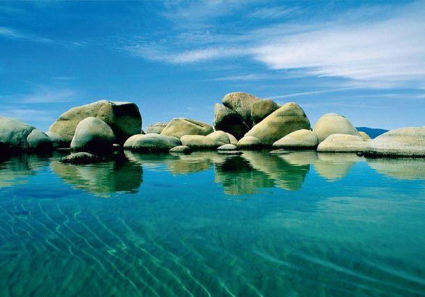 Fototapete Tapete Meer Felsen Wasser Steine Wellness Foto 360 cm x 270 cm