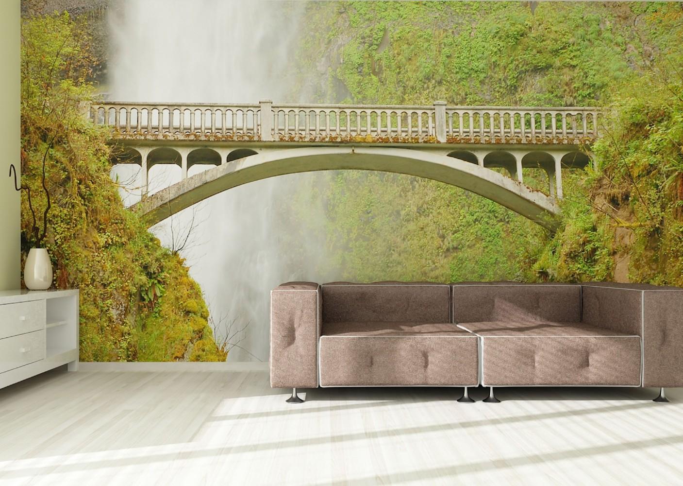 Wall mural wallpaper nature wildness bridge waterfall for Bridge wall mural