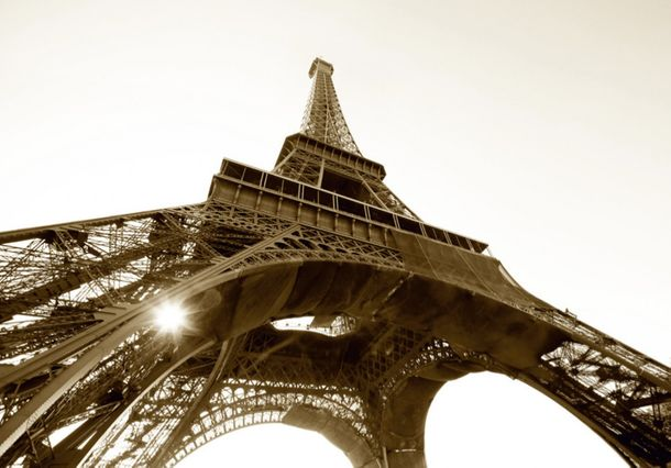 Wall mural wallpaper Paris eiffel tower France sepia photo 360 cm x 254 cm / 3.94 yd x 2.78 yd