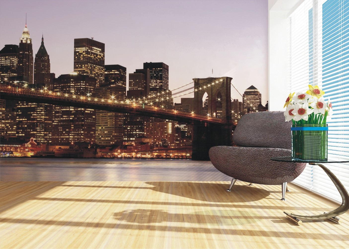 Wall mural wallpaper brooklyn bridge new york skyline nyc for Brooklyn bridge wallpaper mural