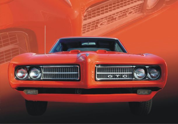 Wall mural wallpaper Pontiac GTO in red US Car red floral photo 360 cm x 270 cm / 3.94 yd x 2.95 yd online kaufen