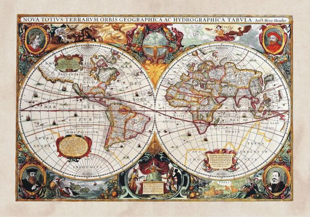 XXL Poster Wall mural wallpaper history world map geography photo 160 cm x 115 cm / 1.75 yd x 1.26 yd