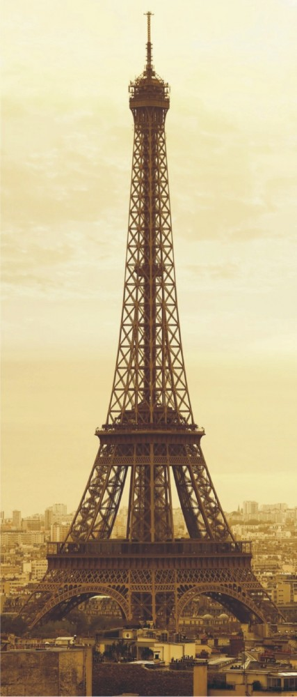 Door wallpaper Wall mural wallpaper eiffel tower Paris france sepia