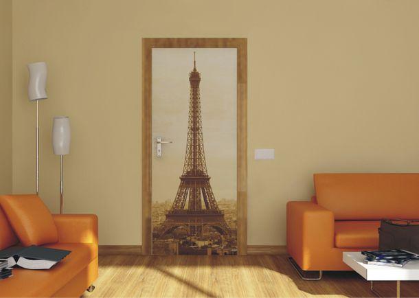 Fototapete Tür Eiffelturm Paris Frankfreich Sepia 90x202cm online kaufen