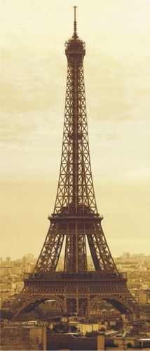 Door wallpaper Wall mural wallpaper eiffel tower Paris france sepia photo 90 cm x 202 cm / 35.43  x 2.21 yd