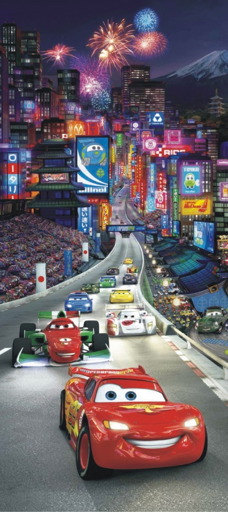 Door wallpaper wall mural wallpaper disney cars 2 in china for Car wallpaper mural
