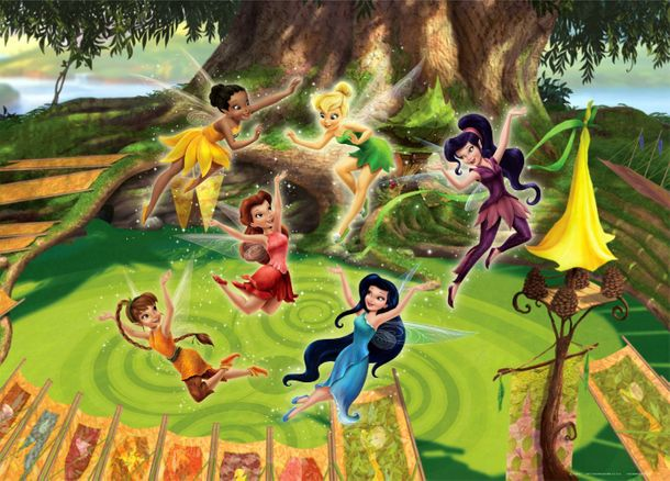 Xxl poster wall mural wallpaper disney tinkerbell fairies for Poster mural xxl fleurs