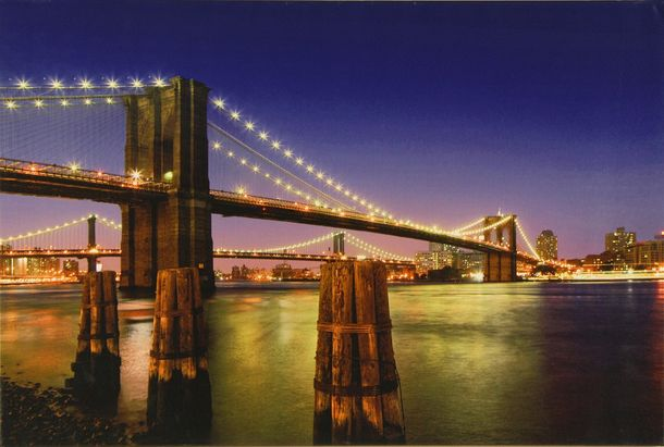 Canvas print Picture 60x90 bridge Skyline by night