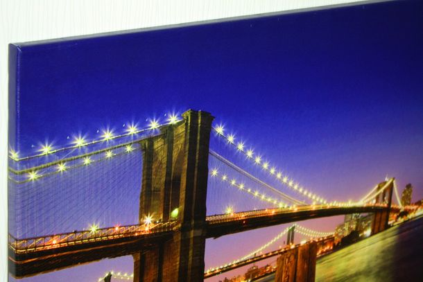 Canvas print Picture 60x90 bridge Skyline by night online kaufen