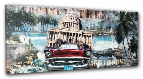 Picture canvas mural palm coast Washington Kapitol 57er Chevrolet 40x100 cm online kaufen