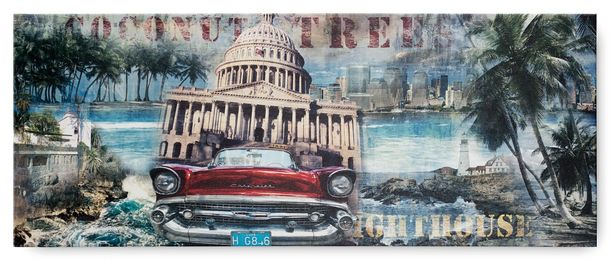 Picture canvas mural palm coast Washington Kapitol 57er Chevrolet 40x100 cm