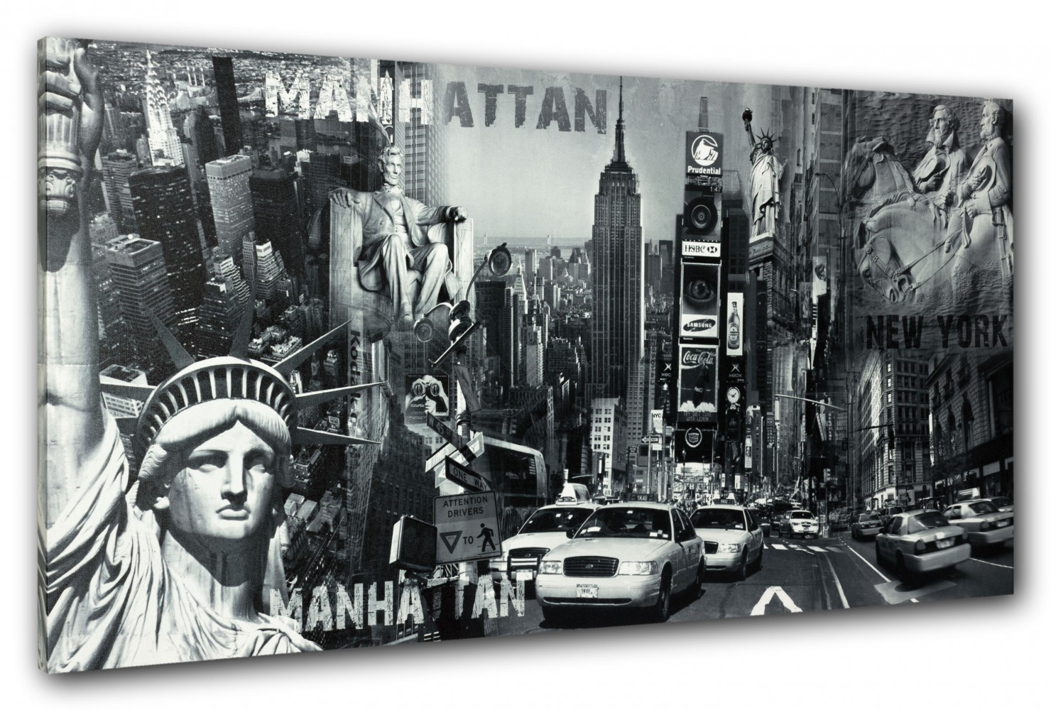 wandbild keilrahmen bild new york freiheitsstatue manhatten streetlife 50x100 cm. Black Bedroom Furniture Sets. Home Design Ideas