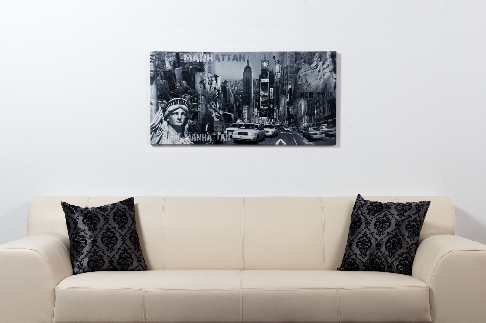 picture canvas mural new york stature of liberty manhatten. Black Bedroom Furniture Sets. Home Design Ideas