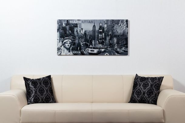Picture canvas mural New York stature of liberty Manhatten Streetlife 50x100 cm online kaufen