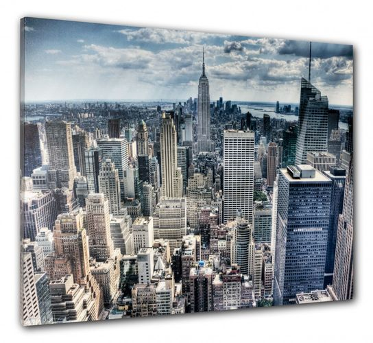 Picture Canvas print mural New York Skyline 3D Empire State 60x80 cm online kaufen