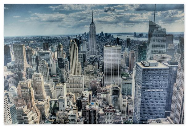 Picture Canvas print mural New York Skyline 3D Empire State 60x80 cm