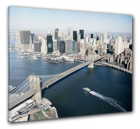 Picture Canvas print mural New York Skyline 3D Brooklyn Bridge 60x80 cm online kaufen