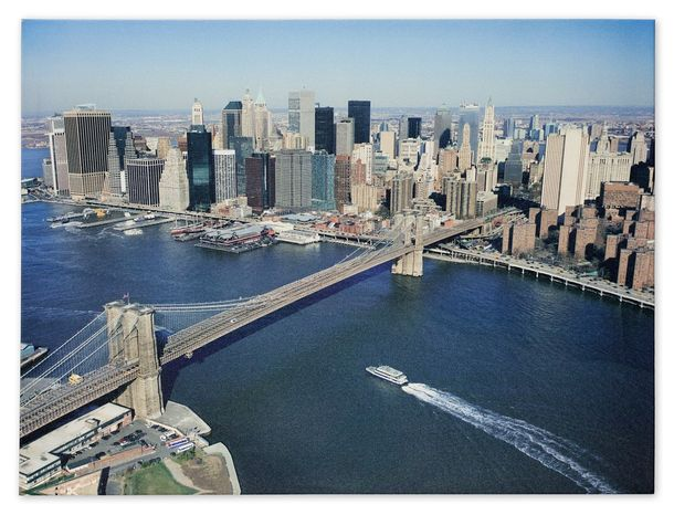 Picture Canvas print mural New York Skyline 3D Brooklyn Bridge 60x80 cm