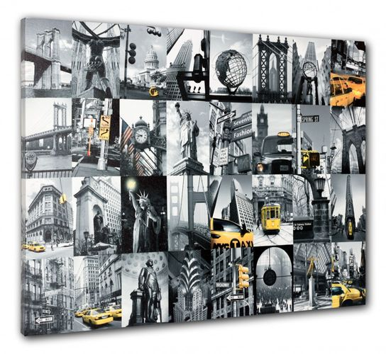 Picture canvas mural New York City Cap stature of liberty Golden Gate 60x80 cm online kaufen
