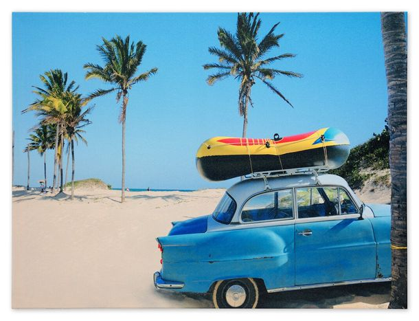 Picture Canvas print mural beach palm Holiday Oldtimer 60x80 cm
