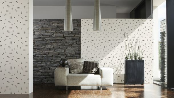 Vinyl Wallpaper Tiles Mosaic grey white 6077-44 online kaufen