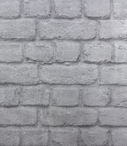 Wallpaper Stone Wall Brick Rasch Shine silver 226751