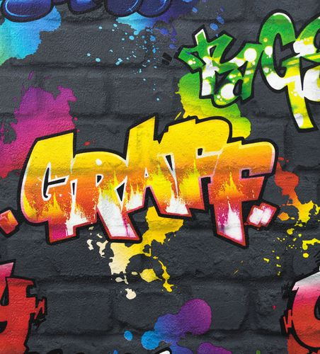 Teen's Wallpaper Graffiti Wall black Rasch 237801