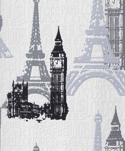 Non-Woven Wallpaper Cities white silver Gloss Rasch 734805