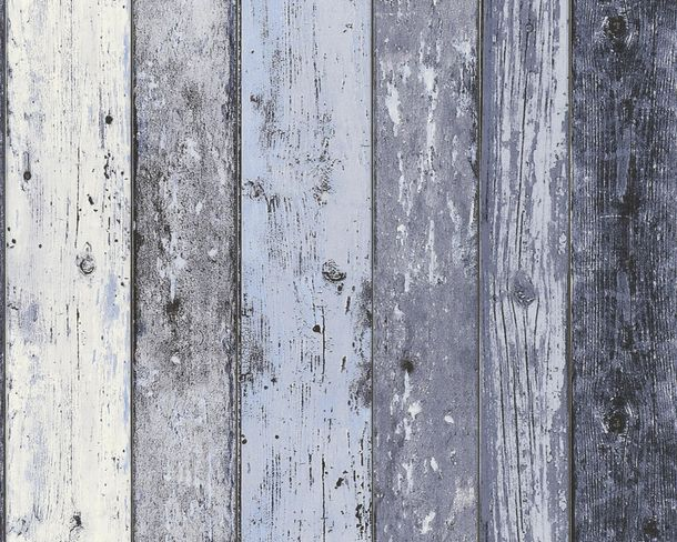 Wallpaper wooden style board blue AS Creation 8550-60