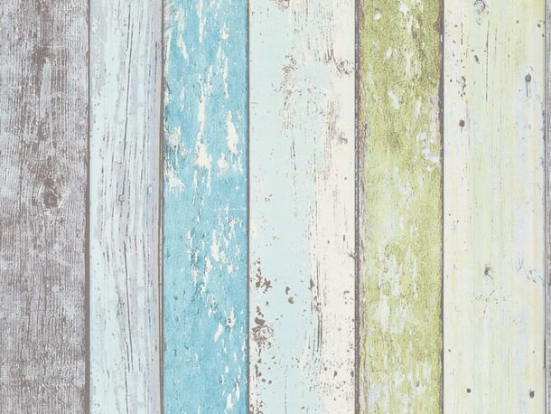 Wallpaper wooden style board green blue AS Creation 8550-77