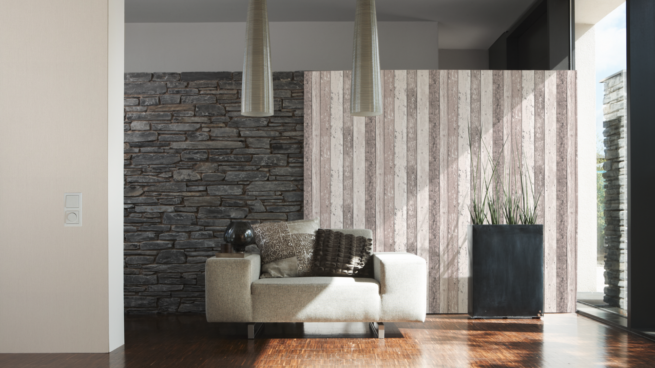 Wallpaper wooden style board brown as creation 8550 53 for Tapete holz
