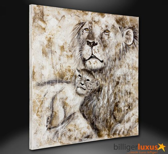 Original oil painting canvas Africa lions picture 100x100 cm / 39.37 '' x 39.37 '' mural online kaufen