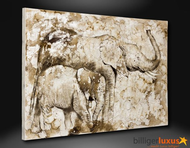 Original oil painting canvas Africa elephants picture 120x80 cm / 47.24 '' x 31.5 '' mural online kaufen