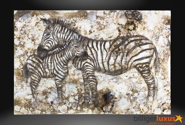 Ölgemälde Leinwand Afrika Zebras 120x80 cm Wandbild online kaufen