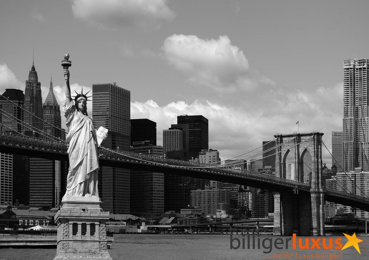 Wall Mural Wallpaper Brooklyn Bridge Statue Of Liberty New York Black White Photo 360 Cm X 254 394 Yd 278