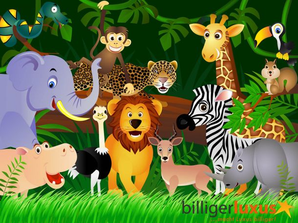 Wall mural wallpaper kids dschungel animals dschungel photo 360 cm x 254 cm / 3.94 yd x 2.78 yd