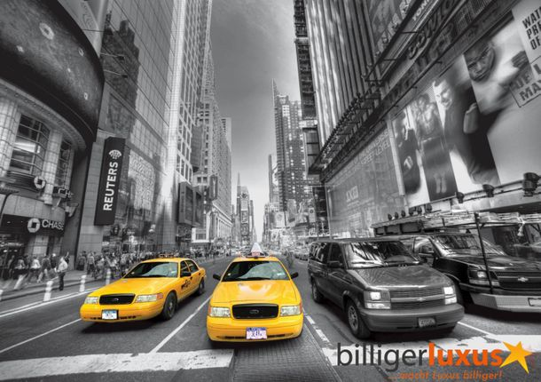 Wall mural wallpaper Taxi Yellow Cap New York car black white photo 360 cm x 254 cm / 3.94 yd x 2.78 yd online kaufen