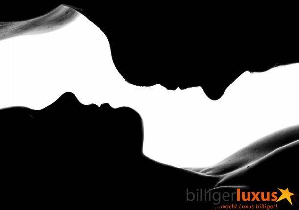 Wall mural wallpaper man woman contours black white photo 360 cm x 254 cm / 3.94 yd x 2.78 yd